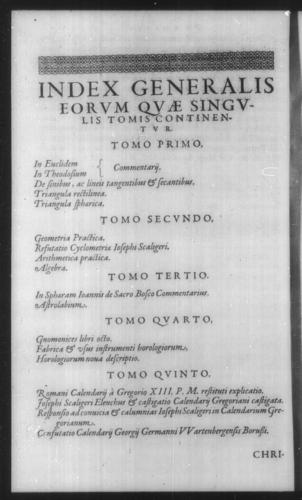 First Volume - Table of contents for Opera Mathematica - Page viii