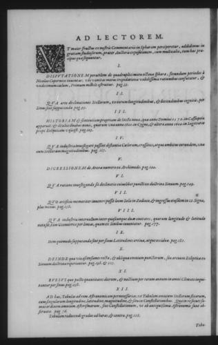 Third Volume - Commentary on John of Holywood's Spheres - Table of contents - Page ii