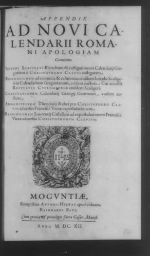 Fifth Volume - Apology Appendices - Title page and verso - Page 1