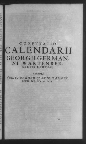 Fifth Volume - Apology Appendices - Critique of George German's Calendar - Page 1