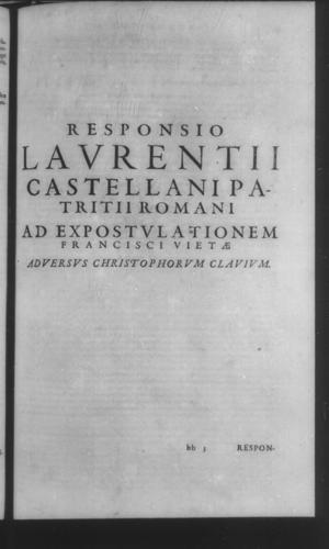 Fifth Volume - Apology Appendices - Response of L. Castellanus to the Admonition - Page 17